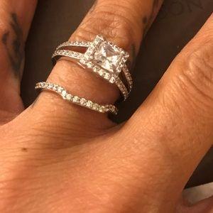 Engagement Wedding Ring Set Sterling Silver